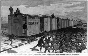 Great Southwest railroad strike of 1886 - U.S. Marshalls attempt. to start a train during the strike in East St. Louis, Illinois.