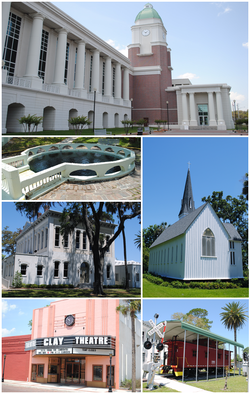 Images from top, left to right: Clay County Courthouse, the springs, City Hall, Clay Theatre, Spring Park on the St. Johns River