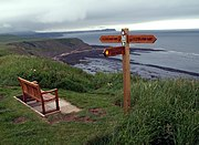 The Cleveland Way long distance footpath passes near Gristhorpe; a view from the clifftops by the path