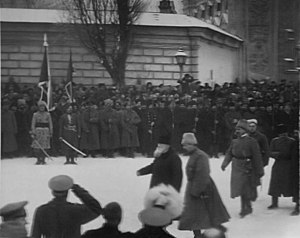 Ukrainian People's Army - The Head of the Ukrainian Central Rada, Mykhailo Hrushevskyi, at a military parade in Kiev in 1917.