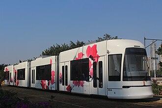 Guangzhou Trams - Image: Guangzhou Haizhu District CSR Zhuzhou Tram For No.05