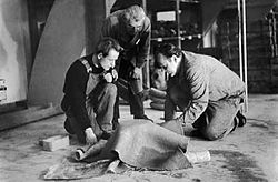 Guhl en 1951, en compagnie de Robert Haussmann (à gauche) et du mouleur Noser chez Eternit SA à Niederurnen..jpg