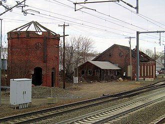 Guilford station - Derelict water tower and engine house at Guilford