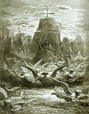 Seventh Crusade - Engraving representing the departure from Aigues-Mortes of King Louis IX for the crusade (by Gustave Doré)
