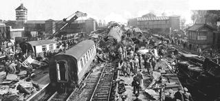 Harrow and Wealdstone rail crash Train wreck in England