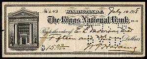 Bank number - Washington, DC, bank number 3 on 1918 check.