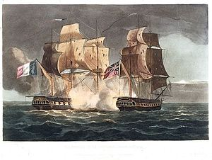 Action of 10 April 1795 - Capture of La Gloire April 10th 1795, Thomas Whitcombe, 1816, National Maritime Museum