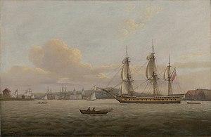 French frigate Pomone (1787) - Image: HMS Pomone off Greenwich
