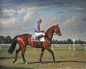 Hurricane Run - Hurricane Run with Kieran Fallon: Painting by Charles Church