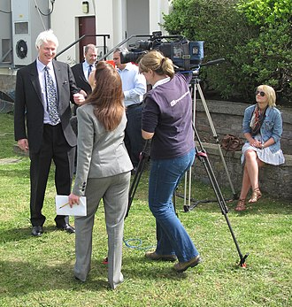ITV News Channel TV - Channel TV News crew filming an interview with the Bailiff of Jersey in April 2011