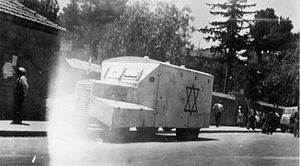 Hadassah medical convoy massacre - An ambulance preparing to join the convoy to Mount Scopus. 13 April 1948