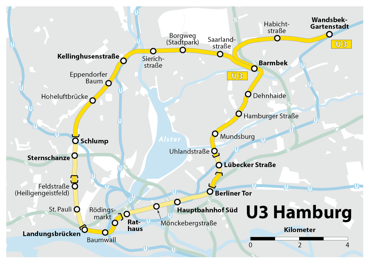 Hamburg Subway Map.U3 Hamburg U Bahn Wikipedia