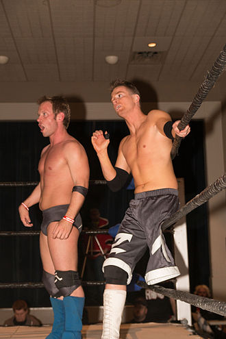 Zach Gowen - The Handicapped Heroes - Gregory Iron (left) and Gowen - at an independent show in April 2014