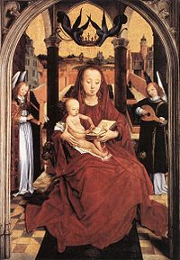 Hans Memling - Virgin and Child Enthroned with two Musical Angels - WGA14808.jpg