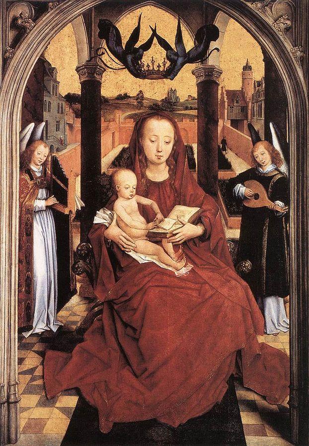 La Mare de Déu i el Nen entre dos àngels músics