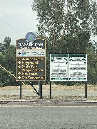 Hansen Dam - Signage located within Hansen Dam Recreation Area