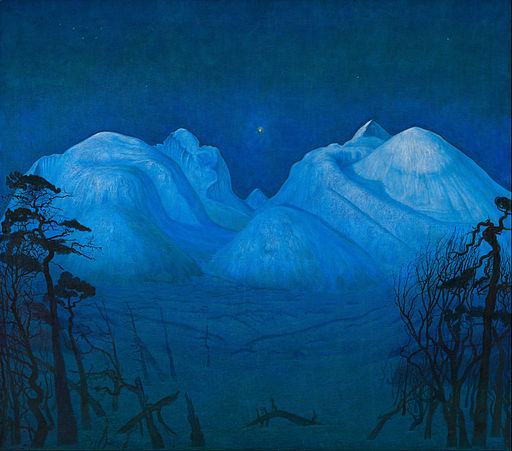 Harald Sohlberg - Winter Night in the Mountains - Google Art Project