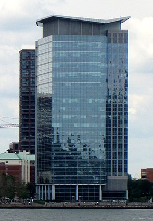 Harborside (Jersey City) - Harborside Plaza 10, built in 2002 for Charles Schwab Corporation, as seen from Battery Park City in Manhattan