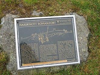 Hardknott Roman Fort - Information sign at Hardknott