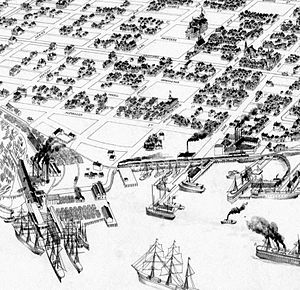 Hastings Mill - Drawing from 1898 showing Hastings Mill at the foot of Dunlevy Avenue
