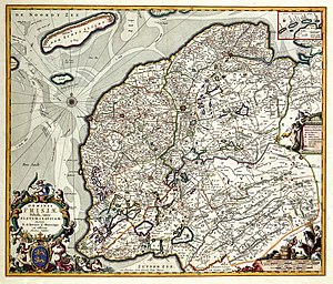 Lordship of Frisia - Lordship of Frisia 1680, divided into quarters Westergo, Oostergo, Zevenwouden, Steden