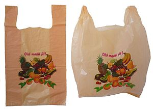 Plastic shopping bag - A German plastic shopping bag, freshly folded (left) and used (right)