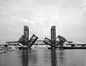 Henry Ford Bridge - The 1924  Henry Ford Bridge in the half-closed position as seen in 1994.
