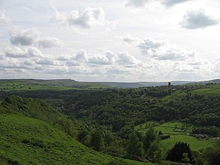 View of Heptonstall across the Hebden Valley