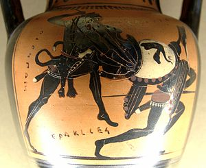 Shield of Heracles - An early 5th-century BCE depiction of Heracles (left) fighting Cycnus (Attic black-figure amphora, found at Nola)