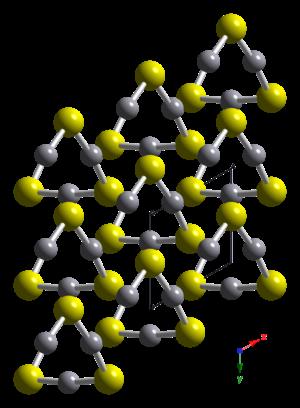 Mercury sulfide - Image: Hg S alpha cinnabar xtal 1999 looking down c axis CM 3D balls