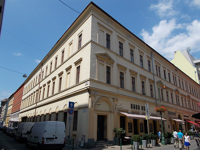 File:Hild-Wieser corner house. Listed ID 1057. Classicist. By József Hild, 1847 and Ferenc Wieser, 1861. - 13, Raday St., Erkel Ferenc St, Budapest District IX.JPG