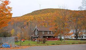 Noxen, Pennsylvania - Schooley's Peak near Noxen, Pennsylvania, with a wind turbine