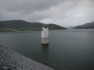 Hinze Dam - Spillway tower of Hinze Dam following Stage 3 upgrade, 2011
