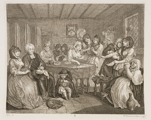 1731 in art - William Hogarth, Moll's Wake (Plate 6 of the Harlot's Progress engravings)