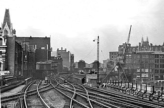 Holborn Viaduct railway station - The rail approach to Holborn Viaduct in 1953