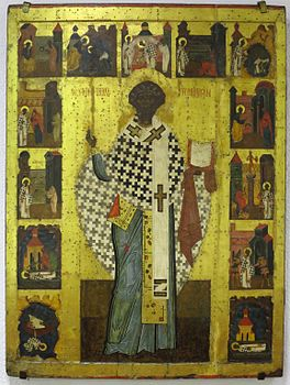 Holy Bishop Clement, Pope with Scenes from his Life, Arkhangelsk.JPG