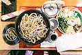 Hourai Soba - Soba with a set of 8 small toppings shiitake mushrooms, shredded thin omelet, sesame seeds, shrimp tempura, wasabi, nori, Japanese leeks and grated daikon (13680927873).jpg