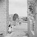 Houten waterrad aan de Orontes in Hama Kinderen spelend in de rivier, Bestanddeelnr 255-6008.jpg
