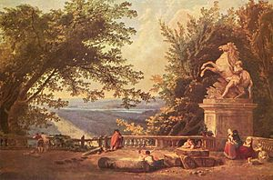Vénus et Adonis - View from the terrace of Château de Marly painted by Hubert Robert