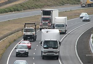 Australian Road Rules -  Cars and trucks in traffic on the Craigieburn Bypass of the Hume Freeway north of Melbourne, Victoria. Victoria has an extensive road network managed by VicRoads. The Victorian Road Rules are made under the Road Safety Act of Victoria and are based on the Australian Road Rules.