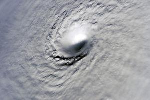 Meteorological history of Hurricane Wilma - Eye of Hurricane Wilma near peak intensity
