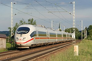 An ICE 3 high-speed train on the Ingolstadt-Mu...