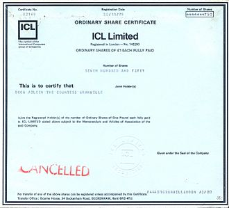 International Computers Limited - Share Certificate of ICL Limited from 1979