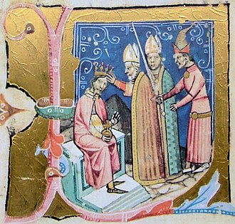 Lucas, Archbishop of Esztergom - Stephen III is crowned king by Lucas (from the Illuminated Chronicle)
