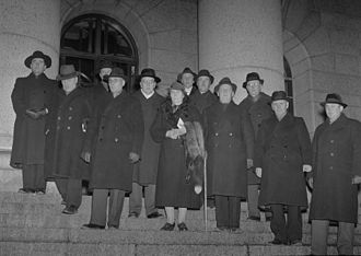 Patriotic People's Movement (Finland) - IKL parliamentary group standing in front of the Eduskunta.