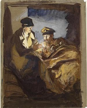 Olive Mudie-Cooke - In an Ambulance: a VAD lighting a cigarette for a patient (Art.IWM ART 3051), painted between 1916 and 1918