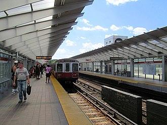 Fields Corner station - An inbound train at Fields Corner station in July 2013