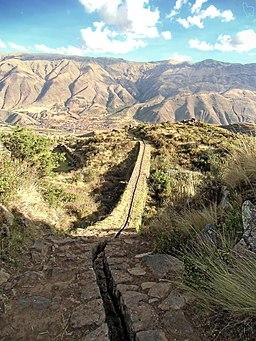 Incan aqueduct at Tipon. Cusco, Peru