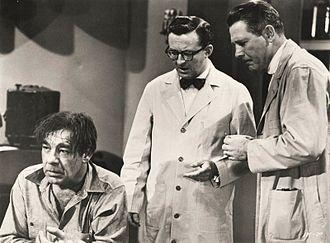 Robert Shayne -  From Indestructible Man (1956), L-R: Lon Chaney, Jr., Joe Flynn, and Robert Shayne