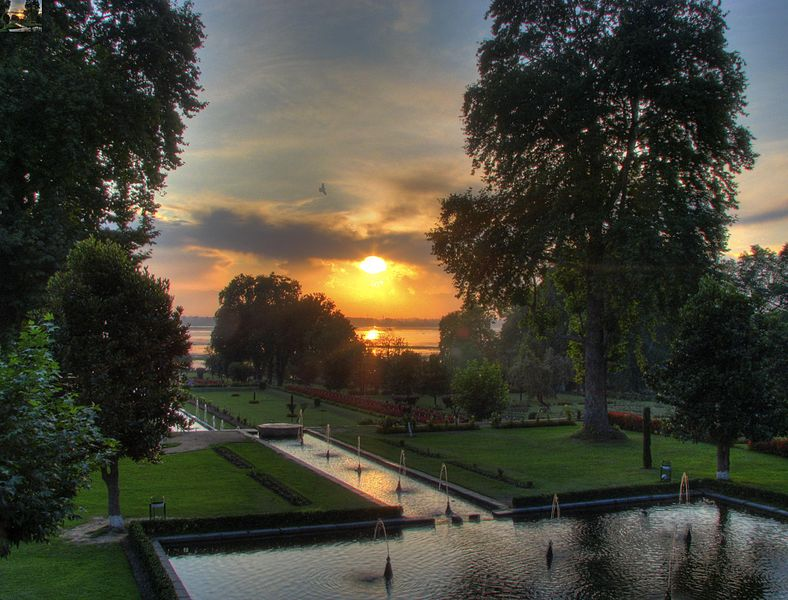 File:India - Srinagar - 032 - sunset at Nishat Bagh Mughal Gardens HDR.jpg